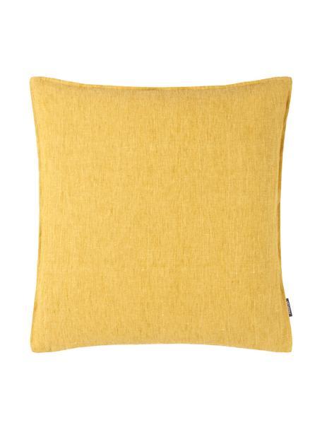Federa arredo in lino lavato giallo ocra Sven, 100% lino, Giallo ocra, Larg. 60 x Lung. 60 cm