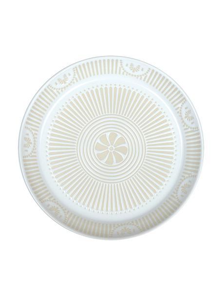 Porseleinen dessertborden Sonia met patroon aan de binnenzijde, 2 stuks, Porselein, Wit, Ø 22 cm