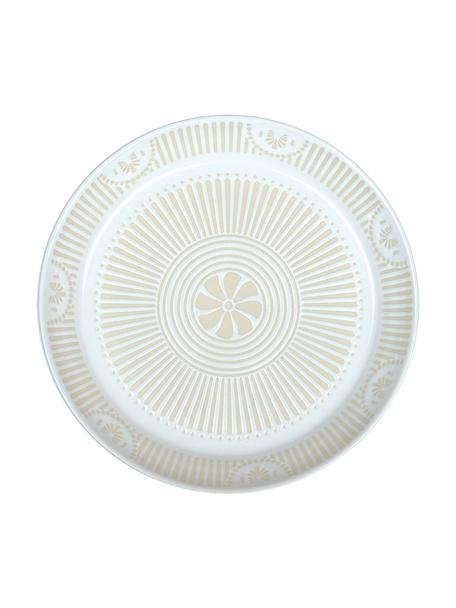 Porzellan-Kuchenteller Sonia mit gemusterter Innenseite, 2 Stück, Porzellan, weiss, Ø 22 cm