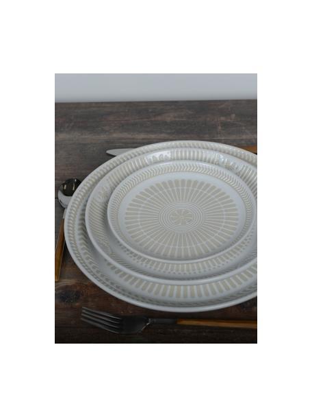 Porzellan-Kuchenteller Sonia mit erhabener gemusterter Innenseite, 2 Stück, Porzellan, Weiß, Ø 22 cm
