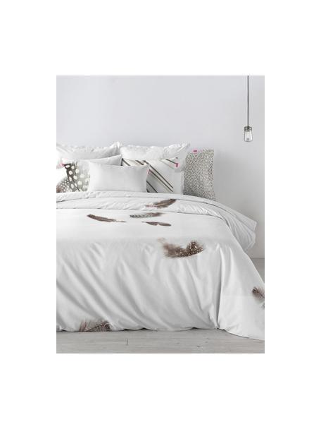 Dubbelzijdig dekbedovertrek Light, Katoen, Bovenzijde: wit, grijs, bruin. Onderzijde: wit, 140 x 200 cm