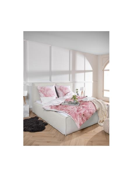 Gestoffeerd bed Dream in crèmewit, Frame: massief grenenhout en pla, Bekleding: 100% polyester (gestructu, Geweven stof beige, 140 x 200 cm
