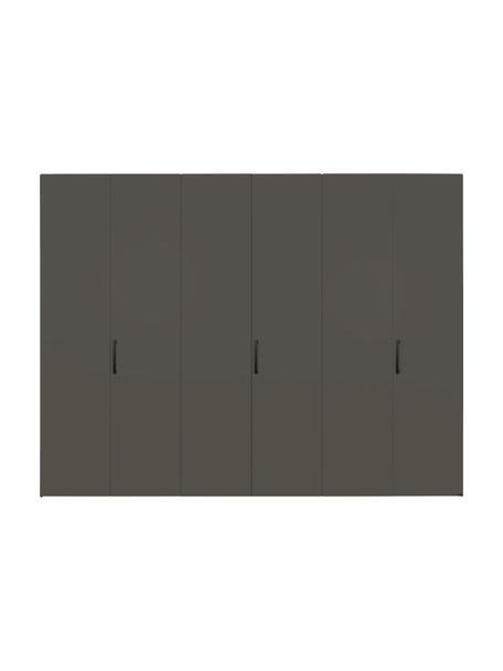 Kledingkast Madison in grijs, 6 deuren, Frame: panelen op houtbasis, gel, Grijs, 302 x 230 cm
