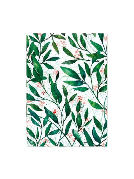 Geschenkpapier-Rollen Green Leaves, 3 Stück, Papier, Grün, Rot, Weiß, 50 x 70 cm