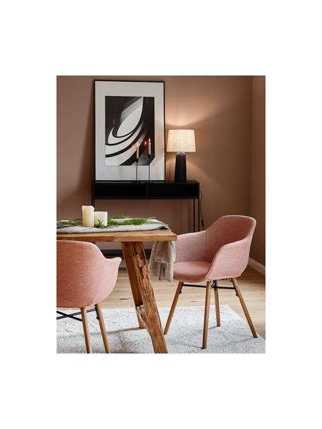 Silla con reposabrazos Fiji, Tapizado: poliéster Alta resistenci, Patas: madera de roble maciza, Tejido rosa, patas roble, An 59 x F 55 cm