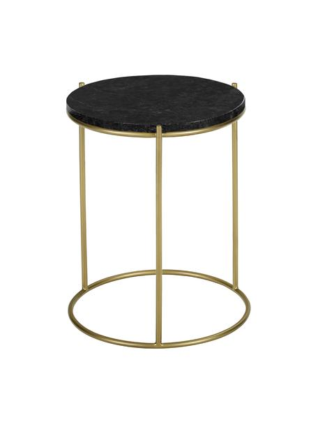 Mesa auxiliar redonda de mármol Ella, Tablero: mármol, Estructura: metal con pintura en polv, Mármol negro, dorado, Ø 40 x Al 50 cm