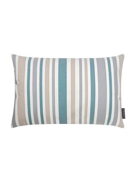 Gestreepte outdoor kussenhoes Marbella, 100% Dralon® polyacryl, Blauw, wit, beige, grijs, 40 x 60 cm