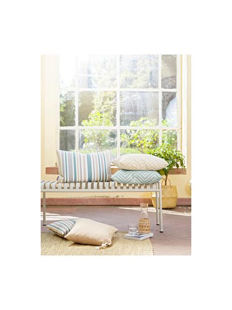 Gestreifte Outdoor-Kissenhülle Marbella, 100% Dralon® Polyacryl, Blau, Weiss, Beige, Grau, 40 x 60 cm