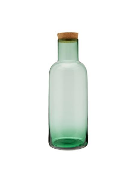 Glazen karaf Clearance in groen met kurken deksel, 1 L, Deksel: kurk, Groen, transparant, H 25 cm