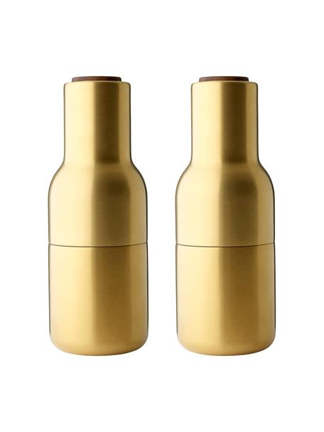 Designer zout- en pepermolenmolen in goud met deksel van walnoothout, Frame: vermessingd en geborsteld, Deksel: walnoothout, Messingkleurig, Ø 8 x H 21 cm