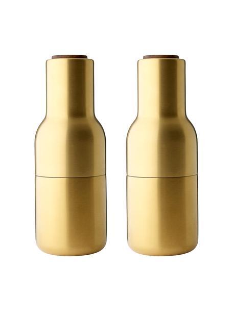 Molinillos de diseño Bottle Grinder, 2pzas., Estructura: acero, latón y cepillado, Grinder: cerámica, Latón, Ø 8 x Al 21 cm