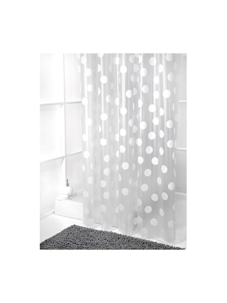 Cortina de baño corta Golf, semitransparente, Blanco, gris, An 180 x L 180 cm