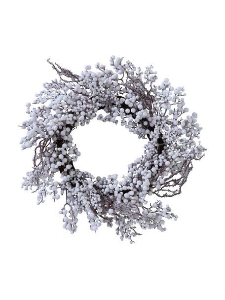 Kerstkrans Biala, Berkenhout, Wit, bruin, Ø 50 x H 10 cm