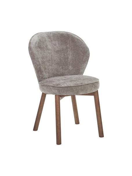 Gestoffeerde stoel Serena in grijs, Bekleding: chenille (92% polyester, , Poten: massief essenhout, gelakt, Grijs, 56 x 64 cm