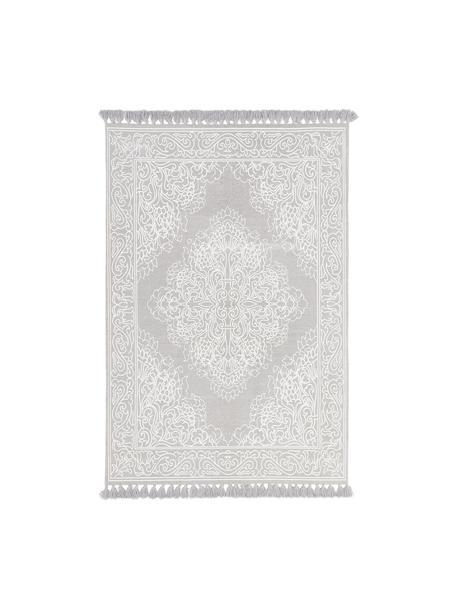 Hangeweven katoenen vloerkleed Salima met patroon en kwastjes, 100% katoen, Lichtgrijs, crèmewit, B 50 x L 80 cm (maat XXS)