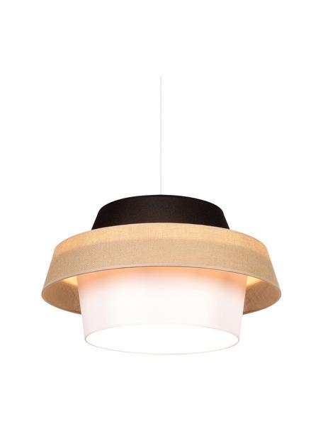 Moderne hanglamp Preto, Lampenkap: stof, Baldakijn: gecoat metaal, Zwart, beige, wit, Ø 55 x H 30 cm