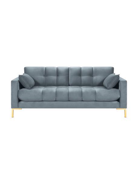 Sofá de terciopelo Mamaia (2plazas), Tapizado: terciopelo de poliéster A, Estructura: madera de pino maciza, ma, Patas: metal pintado, Azul, An 177 x F 92 cm