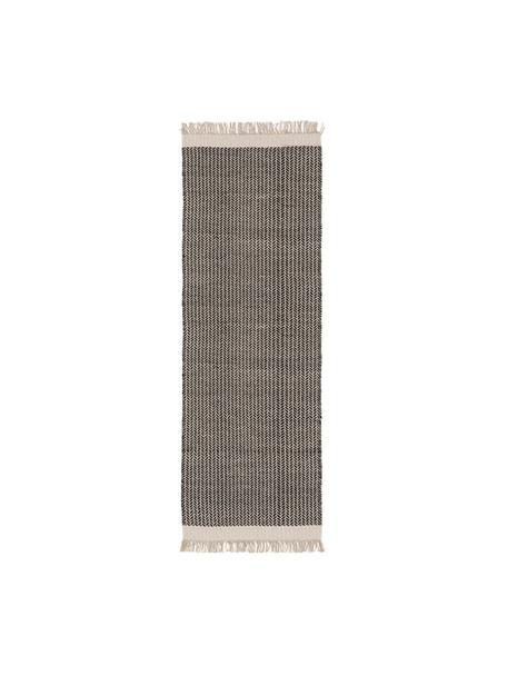 Ręcznie tkany chodnik z wełny z frędzlami Kim, 80% wełna, 20% bawełna Włókna dywanów wełnianych mogą nieznacznie rozluźniać się w pierwszych tygodniach użytkowania, co ustępuje po pewnym czasie, Czarny, kremowobiały, S 70 x D 200 cm