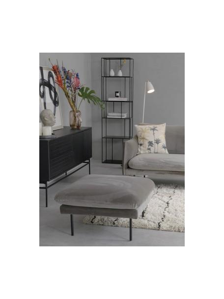 Poggiapiedi da divano in velluto grigio marrone Moby, Rivestimento: velluto (copertura in pol, Struttura: legno di pino massiccio, Piedini: metallo verniciato a polv, Velluto grigio marrone, Larg. 78 x Alt. 48 cm