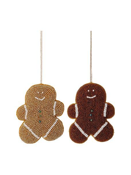 Set 2 ciondoli Cookie, alt. 13 cm, Perline di vetro, cotone, Marrone, dorato, bianco, giallo, Larg. 10 x Alt. 13 cm