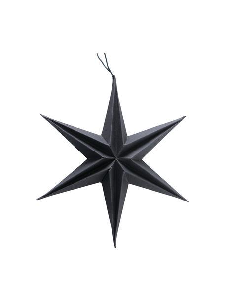 Set 2 ciondoli a stella Mariola, Carta, Nero, Ø 20 x Alt. 20 cm