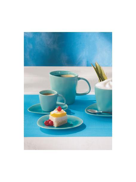 Tazas de café de porcelana Plage, 2uds., Porcelana con glaseado craquelado, Turquesa, Ø 10 x Al 10 cm