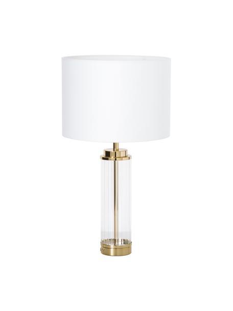 Grosse Glam-Tischlampe Gabor mit Glasfuss, Lampenschirm: Textil, Creme, Goldfarben, Ø 35 x H 64 cm
