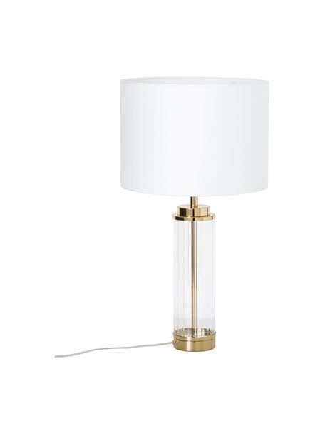 Lampa stołowa ze szklaną podstawą Gabor, Kremowy, odcienie złotego, Ø 35 x W 64 cm