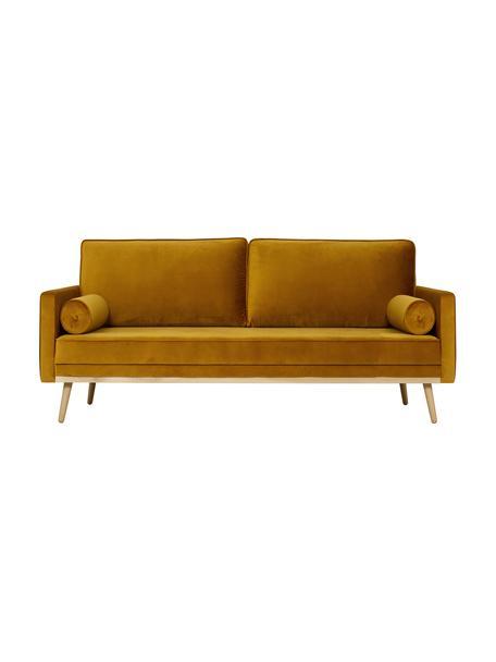 Samt-Sofa Saint (3-Sitzer) in Senfgelb mit Eichenholz-Füssen, Bezug: Samt (Polyester) Der hoch, Gestell: Massives Eichenholz, Span, Samt Senfgelb, B 210 x T 93 cm