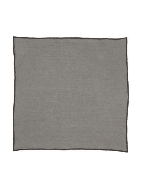 Leinen-Servietten Letia, 2 Stück, Leinen, Dunkelgrau, Schwarz, 41 x 41 cm