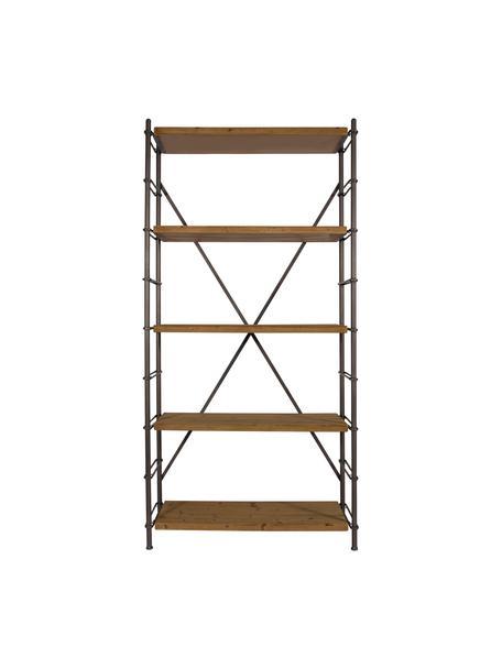 Wandkast Iron, Frame: Metaal, poedercoating, Sparrenhout, zwart, 100 x 200 cm