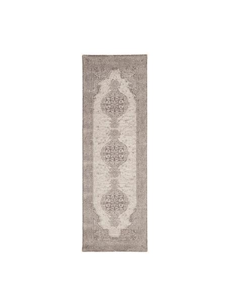 Loper Elegant in vintage stijl, Bovenzijde: 100% nylon, Onderzijde: 100% katoen, Grijs, 80 x 250 cm