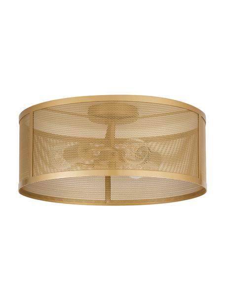 Plafondlamp Goldy van metaal, Lampenkap: gecoat metaal, Baldakijn: gecoat metaal, Goudkleurig, Ø 45 x H 21 cm