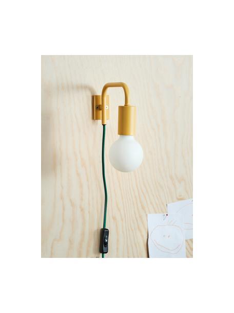 Aplique Cascais, Pantalla: metal recubierto, Cable: cubierto en tela, Amarillo, An 20 x Al 12 cm