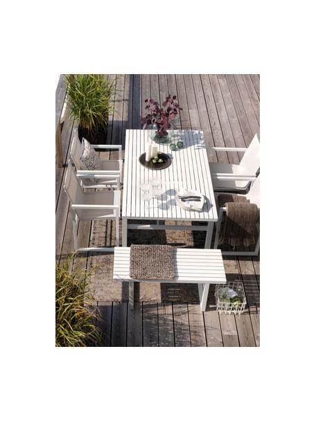 Tavolino da giardino in alluminio bianco Vevi, Alluminio verniciato a polvere, Bianco, Larg. 160 x Prof. 90 cm