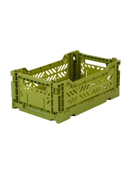 Klappbox Olive, stapelbar, klein, Recycelter Kunststoff, Olivgrün, 27 x 11 cm