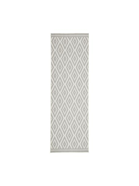 Alfombra de interior/exterior Miami, 86% polipropileno, 14% poliéster, Blanco, gris, An 80 x L 250 cm