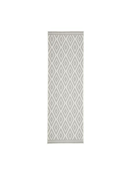 In- & outdoor loper met patroon Miami in grijs/wit, 86% polypropyleen, 14% polyester, Crèmewit, grijs, 80 x 250 cm