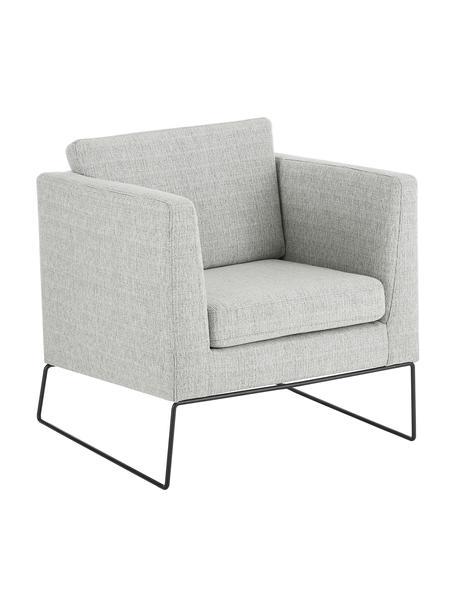Klassischer Sessel Milo in Grau mit Metall-Füßen, Bezug: Hochwertiger Polyesterbez, Gestell: Kiefernholz, Beine: Metall, lackiert, Webstoff Grau, B 77 x T 75 cm