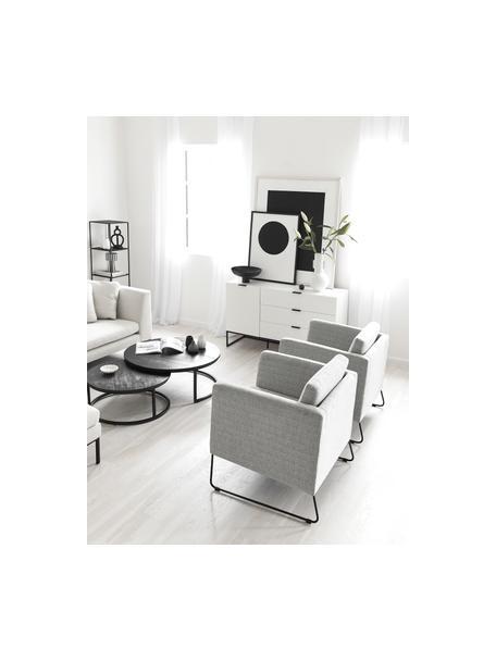 Klassischer Sessel Milo in Grau mit Metall-Füssen, Bezug: Hochwertiger Polyesterbez, Gestell: Kiefernholz, Beine: Metall, lackiert, Webstoff Grau, B 77 x T 75 cm
