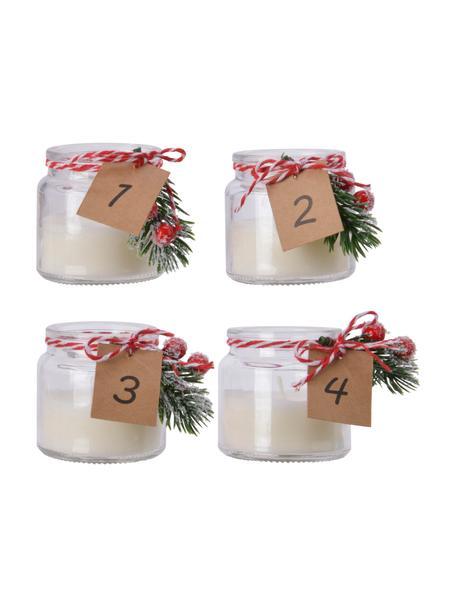 Set 4 candele dell'avvento Wacos, Ø7 cm, Contenitore: vetro, Bianco, verde, rosso, Larg. 7 x Alt. 7 cm