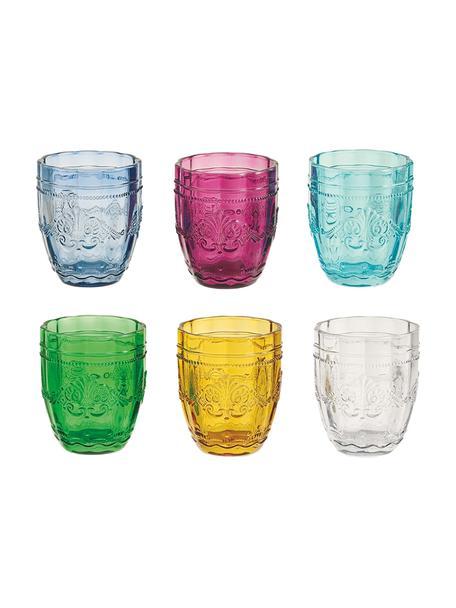 Set 6 bicchieri acqua colorati con rilievo Syrah, Vetro, Multicolore, Ø 8 x Alt. 10 cm