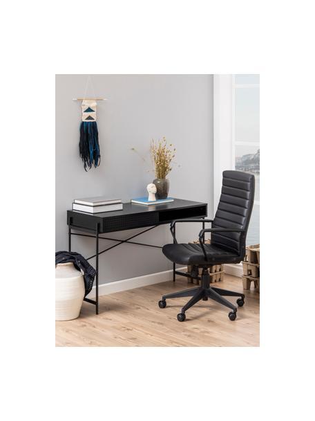 Houten bureau Angus in zwart, Tafelblad: MDF, met melamine gecoat, Frame: gecoat metaal, Zwart, 110 x 50 cm