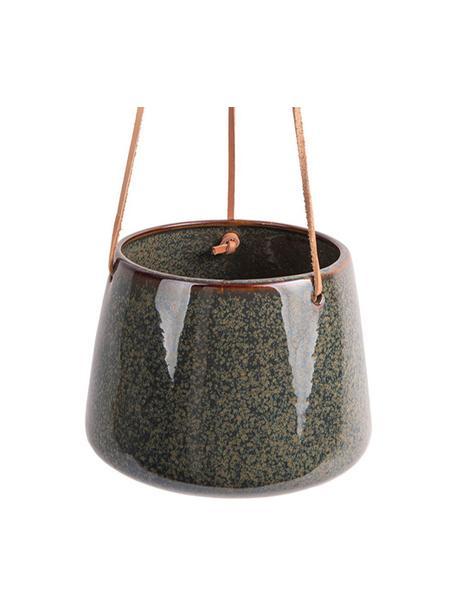 Hängender Übertopf Unique aus Keramik, Keramik, Grüntöne, Ø 17 x H 13 cm