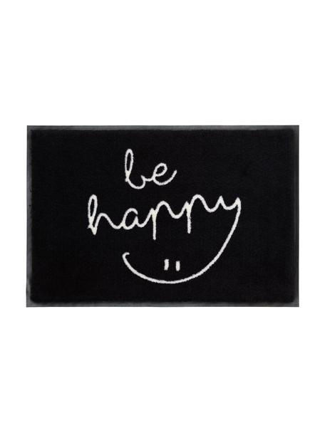 Wasbare polyamide deurmat Be Happy, Bovenzijde: polyamide, Onderzijde: rubber, Zwart, wit, 50 x 75 cm