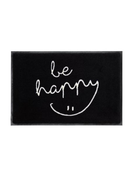 Zerbino lavabile in poliammide Be Happy, Nero, bianco, Larg. 50 x Lung. 75 cm
