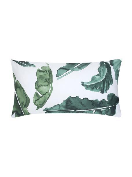 Poszewka na poduszkę z satyny bawełnianej Lou, 2 szt., Biały, zielony, S 40 x D 80 cm