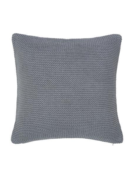 Strick-Kissenhülle Adalyn aus Bio-Baumwolle in Grau, 100% Bio-Baumwolle, GOTS-zertifiziert, Grau, 40 x 40 cm