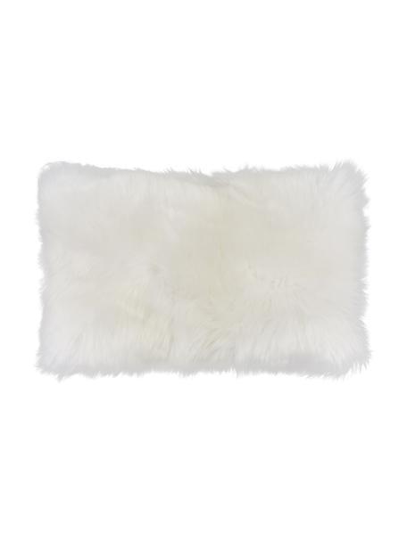Poszewka na poduszkę ze skóry owczej Oslo, gładka, Przód: kremowobiały Tył: kremowobiały, S 30 x D 50 cm