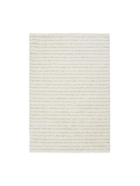 Zacht gestreept hoogpolig vloerkleed Porter, 100% polyester, Natuurwit, beige, B 200 x L 290 cm (maat L)